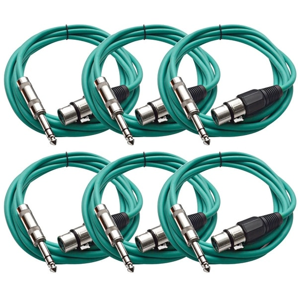 "Seismic Audio SEISMIC (6) Green 1/4"" TRS XLR Female 10' Patch Cables"