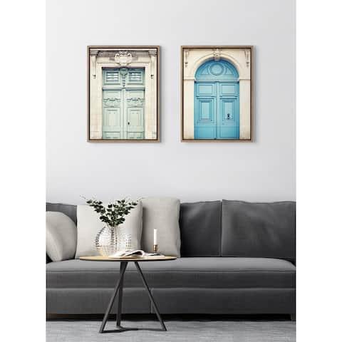 Kate and Laurel Sylvie Classic Parisian Door and Blue Paris Door Framed Canvas Set by Caroline Mint