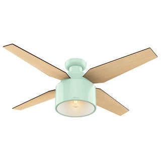 "Hunter 52"" Cranbrook Low Profile Ceiling Fan with LED Light Kit and Handheld Remote - Mint Green"