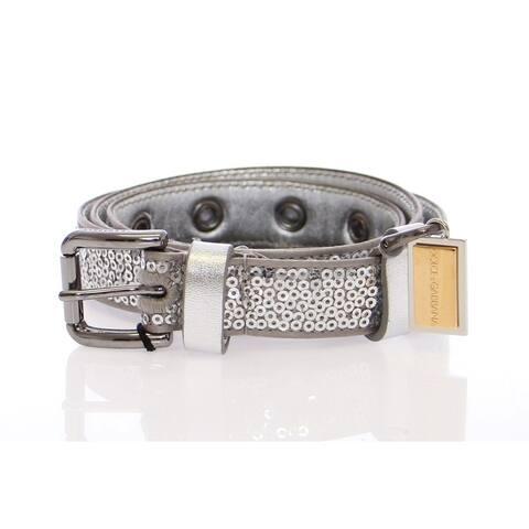 Dolce & Gabbana Silver Silk Sequined Silver Logo Women's Belt