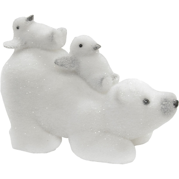 "11.5"" Glittered White Polar Bear and Penguins Tabletop Decoration"