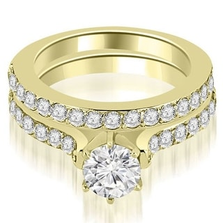 1 65 CT Cathedral Round Cut Diamond Engagement Matching Set In 18KT White H I