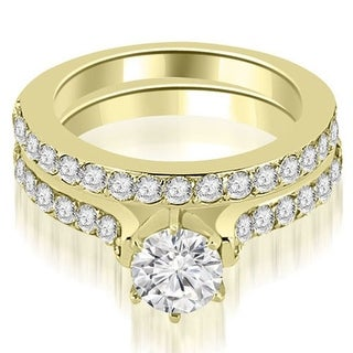 1.90 CT Cathedral Round Cut Diamond Engagement Matching Set in 18KT - White H-I