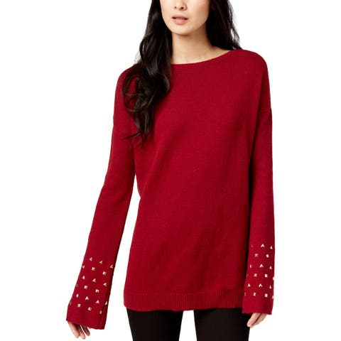 MICHAEL Michael Kors Womens Pullover Sweater Wool Studded
