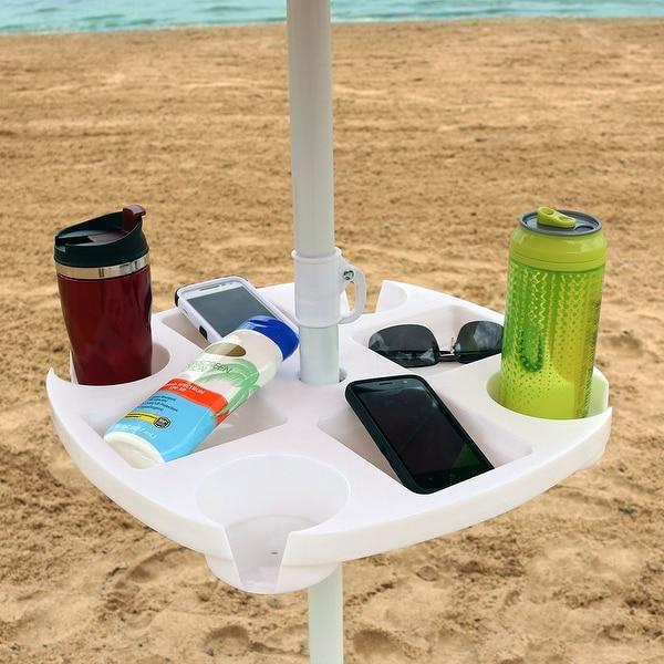 Sunnydaze Beach Umbrella Drink Snack Holder Table Picnic Camping Lake Accessory