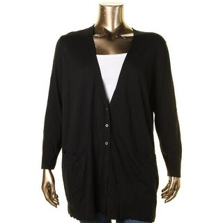 Ralph Lauren Womens Plus Cardigan Top Knit Ribbed Trim - 3x