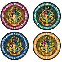 Harry Potter School Crest 4-Piece Coaster Set: Round - Multi