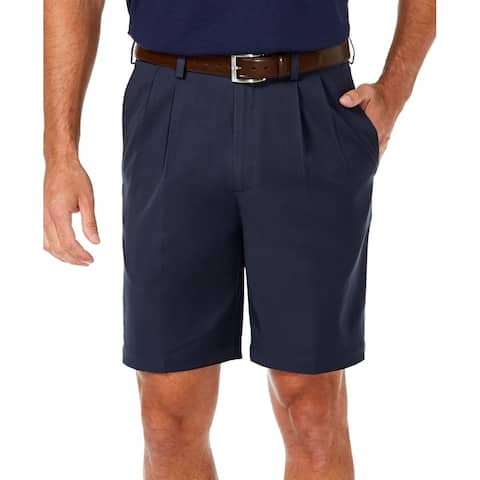 Haggar Mens Golf Shorts Navy Blue Size 32 Cool 18 Pro Pleated Stretch