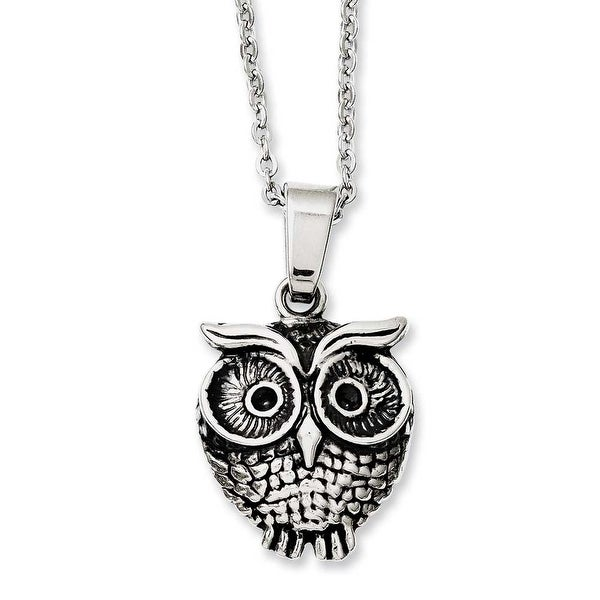 Chisel Stainless Steel Antiqued Owl Necklace (2.3 mm) - 20 in