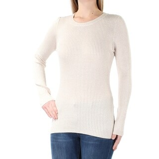 Womens Beige Long Sleeve Jewel Neck Casual Top Size M