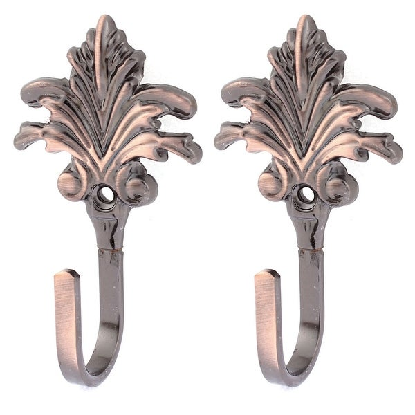 Unique Bargains 2Pcs Leaf Pattern Drapery Curtain Hook Holder Hanger Tieback Copper Tone - copper tone - Copper Tone