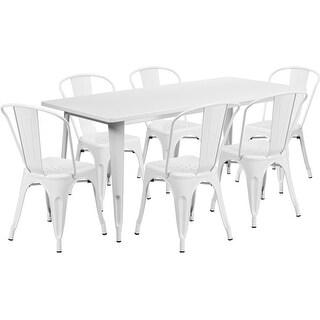 Brimmes 7pcs Rectangular 31.5'' x 63'' White Metal Table w/6 Stack Chairs
