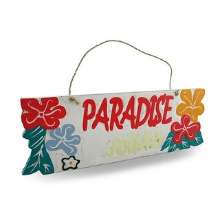 Weathered Finish Wooden `Paradise Found` Sign w/Rope Hanger - White