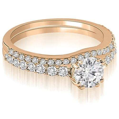 1.04 cttw. 14K Rose Gold Cathedral Round Cut Diamond Bridal Set