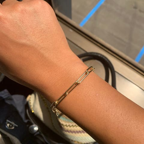 """Gold Link Paperclip Bracelet 14k Yellow Gold Made in Italy 16.8x4.8mm 7"""" by Joelle Collection"""
