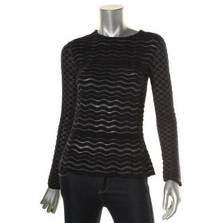 Tory Burch Womens Crewneck Sweater Metallic Piping