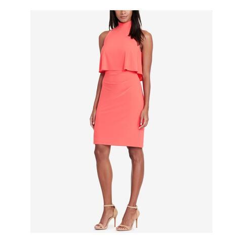 RALPH LAUREN Womens Orange Ruched Sleeveless Turtle Neck Above The Knee Blouson Wear To Work Dress Size: 12
