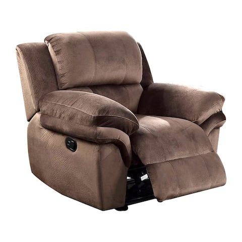 Fabric Upholstered Power Recliner with Pillow Arms, Brown