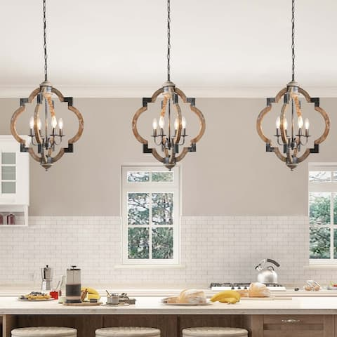"The Gray Barn Hester Gulch Farmhouse Wood Chandelier 4-lights Lantern Pendant Lighting for Kitchen Island - W19.7""x H24.6"""