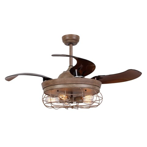 Rustic 42-inch Oak Foldable 4-Blades Cage Ceiling Fan with 5 Lights