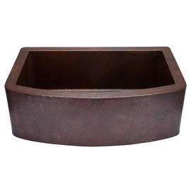 "Miseno MC3320F 33"" Single Basin 14-Gauge Hammered Copper Kitchen Sink for Farmho"