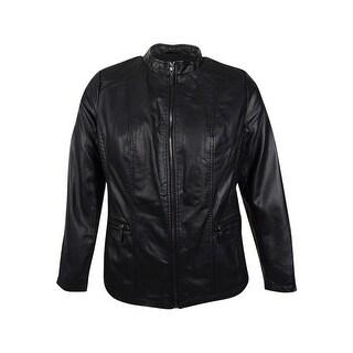 Alfani Women's Plus Size Faux-Leather Moto Jacket