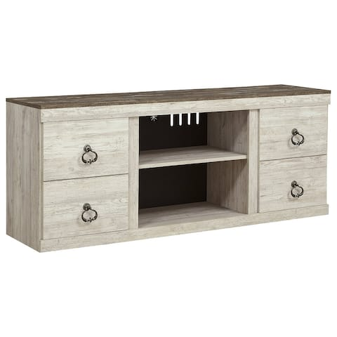 Willowton Casual Large TV Stand w/Fireplace Option, White