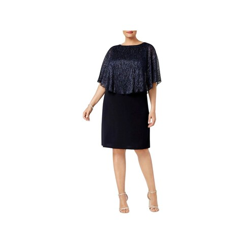 Connected Apparel Womens Plus Special Occasion Dress Metallic Cape Sleeves