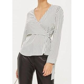 TopShop NEW White Black Women's Size 10 Striped Surplice Wrap D-Ring Blouse