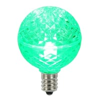 Club Pack of 25 LED G40 Green Faceted Replacement Christmas Light Bulbs