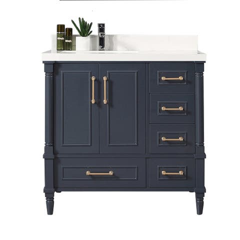 Willow Collections 36 in x 22 Aberdeen Freestanding Bathroom Vanity with Left Offset Bowl Sink and Countertop