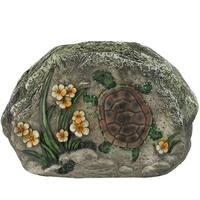 "7"" LED Lighted Solar Powered Turtle and Flowers Outdoor Garden Stone - Multi"