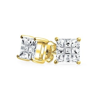 Bling Jewelry Invisible Cut Checkerboard Square CZ Gold Plated 925 Silver Studs 8mm