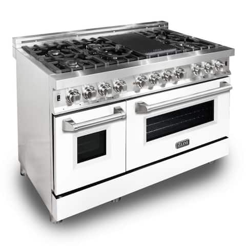 "ZLINE 48"" Dual Fuel Range w/ White Matte Door (RA-WM-48)"