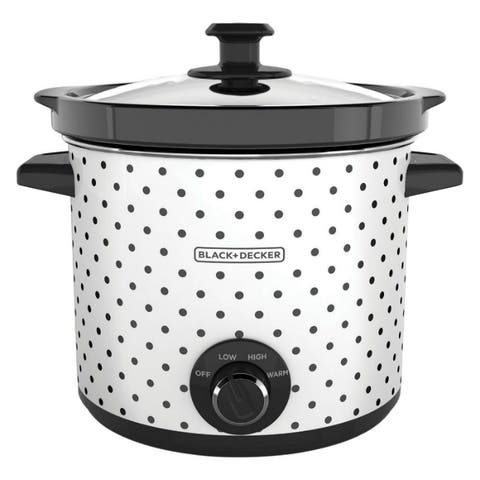 Black & Decker SC1004D Classic-Slow Cooker, 3-Heat Settings, White, 4 Qt