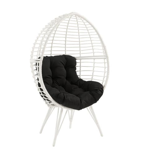 ACME Galzed Teardrop Patio Chair in Black Fabric and White Wicker