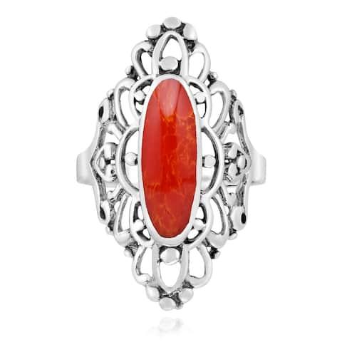 Handmade Cute Heart Filigree Oval Sterling Silver Ring (Thailand)