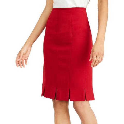 Kasper Womens Pleated Stretch Crepe Skirt 12 Fire Red