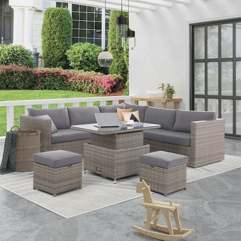 Chandler Patio 6-Piece Sectional Dining Set with Adjustable Table