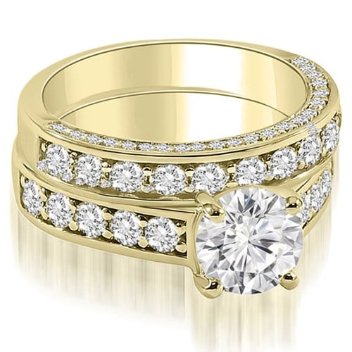 1.18 cttw. 14K Yellow Gold Antique Cathedral Round Cut Diamond Bridal Set