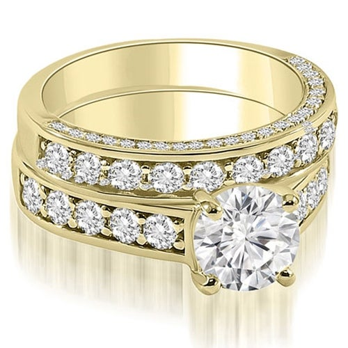 1.43 cttw. 14K Yellow Gold Antique Cathedral Round Cut Diamond Bridal Set