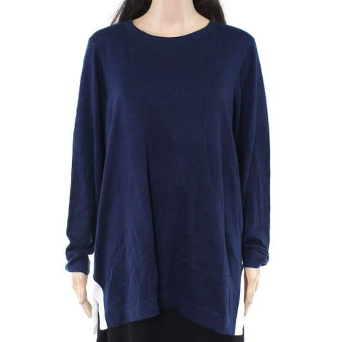 Charter Club Womens Sweater Navy Blue 3X Plus Contrast Trim Split-Hem
