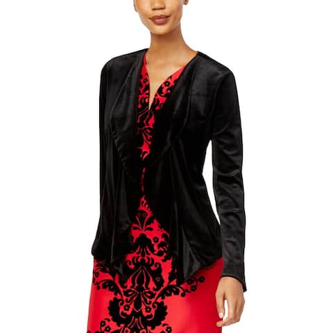 NY Collection Womens Blazer Velvet Open Front