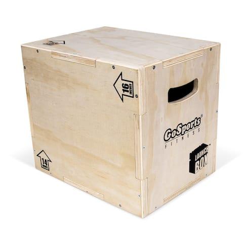 GoSports Fitness Launch Box - Wood Plyo Jump Box - Adjustable Height