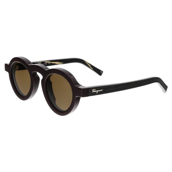 Salvatore Ferragamo SF812/S 604 Dark Burgundy Round Sunglasses