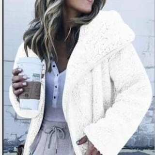 Link to Women's Curved Hem Longline Faux Fur Sherpa Fleece Coat Similar Items in Women's Outerwear