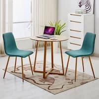 VECELO Kitchen Dining Table Round Natural Wooden Rectangle Legs