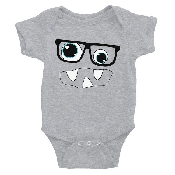 Monster With Glasses Baby Bodysuit Gift Grey