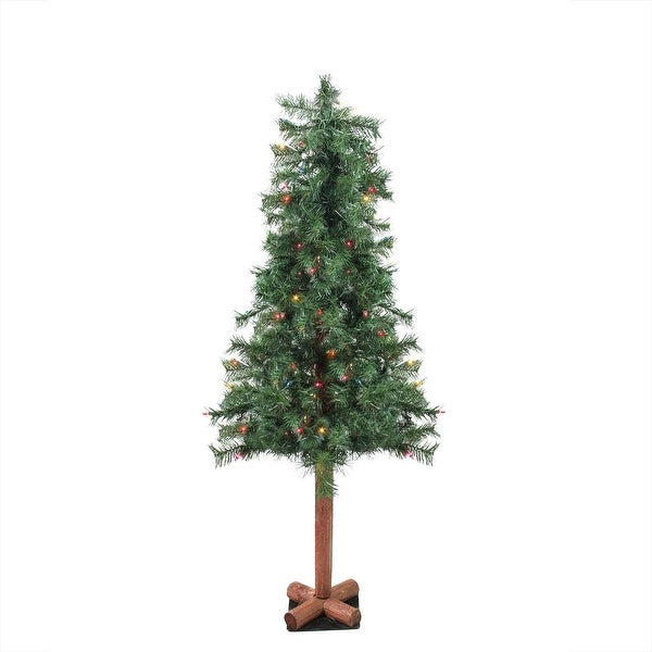 7' Pre-Lit Woodland Alpine Artificial Christmas Tree - Multi Lights - green