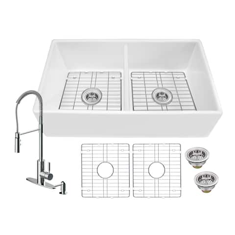 Soleil All-In-One White Fireclay Plain/Picture Frame Reversible 50/50 Double Bowl Apron Front Kitchen Sink with Pull Down Faucet